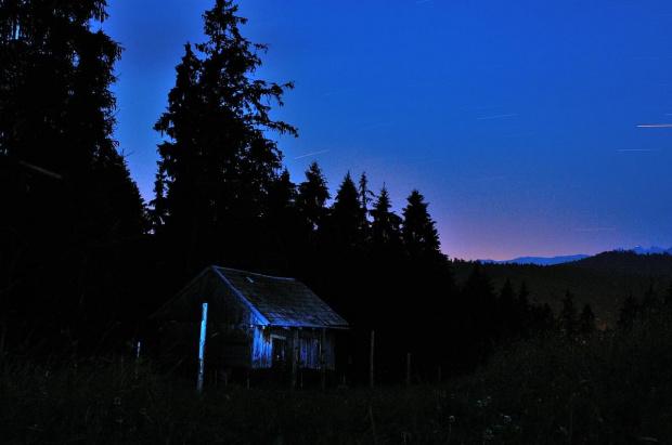 #góry #niebo #noc #chata