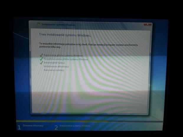 """Instalacja Windows 7 home premium 64 zawiesza sie na """"Instalacja aktualizacji"""""""