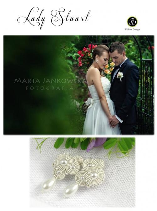 Śmietankowe kolczyki ślubne sutasz z perłami
