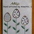 Obrazki z szycia wzięte - na podstawie wzoru ze stitchingcards.com #fantagiro7 #HaftMatematyczny #ObrazkiZSzyciaWzięte #wielkanoc